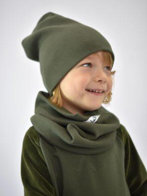 dziecięca czapka z kominem w kolorze khaki