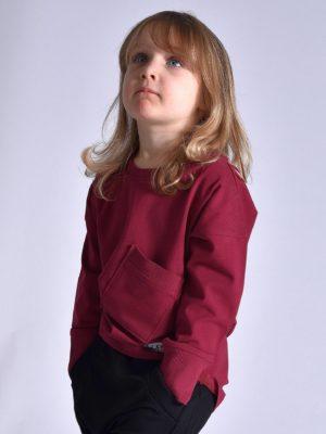 unisex longsleeve dzieciecy bordowy
