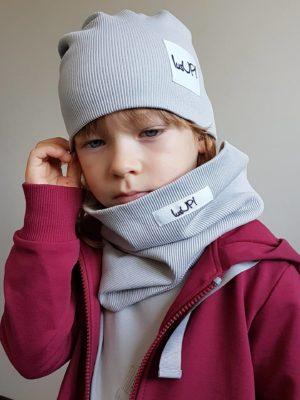komplet dziecięcy zimowy szary czapka z kominem