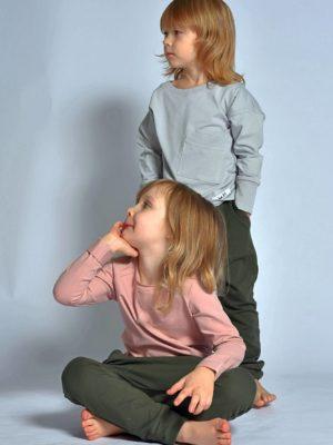 szary i różowy longsleeve dziecięcy
