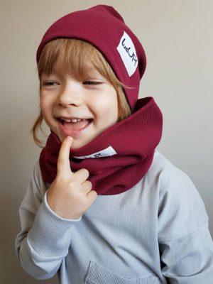 czapka z kominem dziecięca bordowa