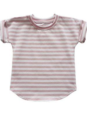 koszulka dziecieca paski rozowe przod